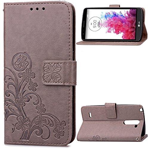 LG G3 Stylus D690 Hülle, CaseFirst Lederhülle Stoßfest Handyhülle Geprägt Textur Ultra Dünn Schutzhülle Kratzfest Hülle Wallet Case mit Handy Halter und Card Slots (Grau) (Lg Stylus-telefon Cover G3)