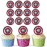 Capitán América Shield 30personalizado comestible cupcake toppers/adornos de tarta de cumpleaños–fácil troquelada círculos