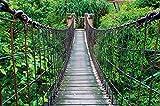GREAT ART Foto Mural Puente Colgante Tapíz Paisaje Natural Póster Jungle Adventure Deco Selva Tropical (336 x 238 cm)