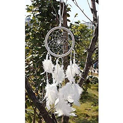 Helper007 Handmade Dream Catcher Net With feathers Wall Hanging Decorations 1 Piece White : everything 5 pounds (or less!)