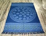 silkroude Wendbar Rund Mandala Baumwolle Flickenteppich Kilim Teppich 121,9x 182,9cm Zoll Bereich Teppich Teppich Hand Made Indigo Blau Teppich Dhurrie