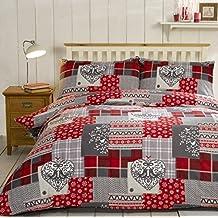 Navidad Patchwork 100% algodón cepillado franela corazón colcha funda de edredón y 2funda de almohada juego de ropa de cama, rojo/Multicolor, Super King