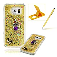 For Samsung Galaxy S6 Edge Liquid Case,For Samsung Galaxy S6 Edge TPU Silicone Clear Case,Herzzer Creative Luxury 3D Design Liquid Quicksand Floating Flowing Bling Glitter Sparkle Stars Love Hearts Triangle Sequin Anti Scratch Bumper Soft Rubber Back Cover For Samsung Galaxy S6 Edge + 1 x Free Yello