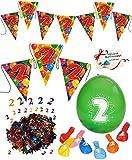 Unbekannt Deko Set _  Zahl - 2 / Zwei  - Girlande / Wimpelkette & Luftballons & Streumotive - Dekoration - WASSERFEST - z.B. für Firmenfeier / Jubiläum - Kindergeburt..