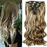 "22""Full Clip Tête dans les Extensions de Cheveux Ombre Wavy Curly Dip Dye 7pcs Mix Blond Chatain"