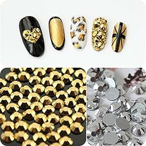 Generic ss6 silver : 1440pcs Gold Hematite Silver Hematite Non Hotfix Flatback punk style Rhinestones for Nails Art Decoration Glitter Jewelry Beads