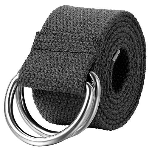 JewelryWe Schmuck Herren Damen Stoffgürtel, Einfarbig Casual D-Ring Yoga Leinwand Textilgürtel Stricken Canvas Web Gürtel Belt, Schwarz (Schwarze Schnalle Canvas)