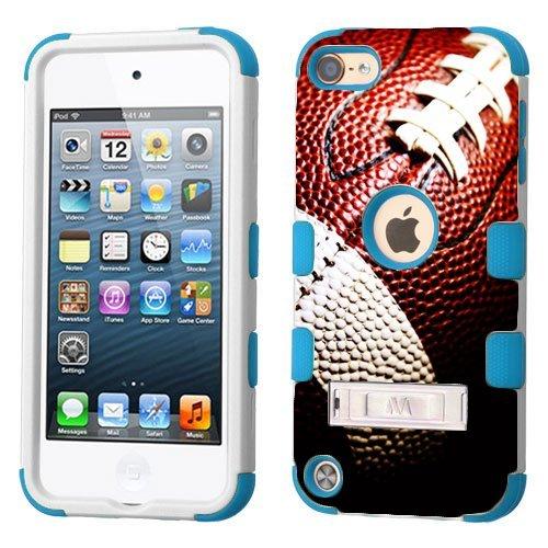 iPod Touch 5. 6. Generation Weiß Kunststoff/Blau Silikon 3-Stil Hybrid Hard Schutzhülle für Apple-Mädchen und Jungen-Stoßfest Staubdicht mit Ständer-5/6Gen, Fußball (8gb Ipod Apple 3. Generation)