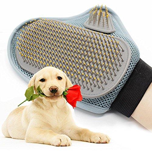 JZDCSCDNS Haustier Handschuhe Badebürste Anti-Biss Katze/ Hund Baden Massage Kardieren Reinigen Einstellbare Manschetten 3D-Mesh Edelstahl-Nadel Vakuumtuch Grau 18 * 24cm