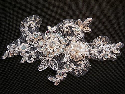 Avorio in rilievo floreale pizzo applique da sposa avorio con