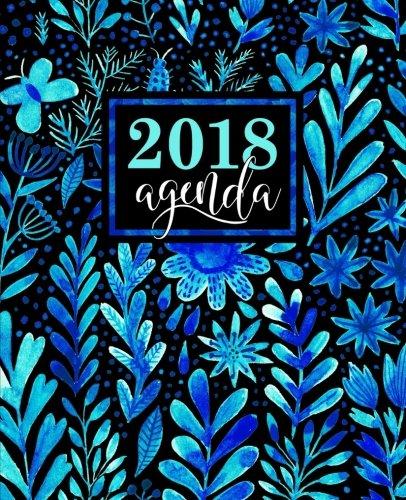 Agenda: 2018 Agenda semana vista español : 190 x 235 mm, 160 g/m² : Bonitas flores azules en acuarela: Volume 4 (Calendarios, agendas y organizadores personales)