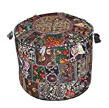 Traditional Decorative Ottoman Comfortable Floor Cushion Cover Foot Stool Cover Embellished With Embroidery & Patchwork, 46 X 33 Cm