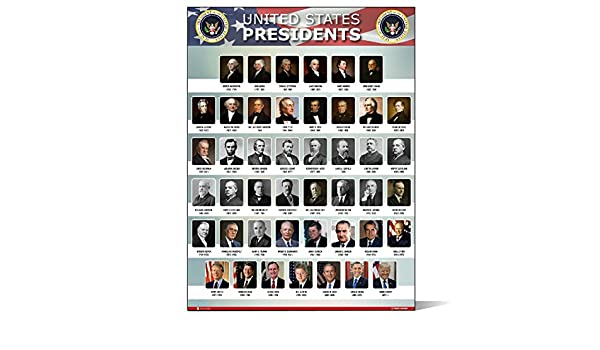 Laminated Presidents of the United States USA Chart Classroom Sign Poster 30x46 cm Inch
