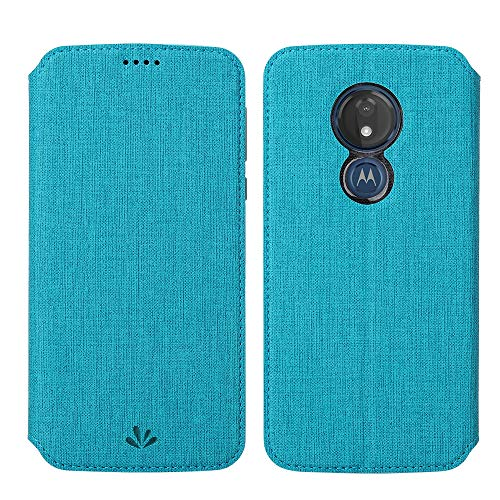 Eastcoo Kompatibel mit Motorola Moto G7 Power Hülle PU Leder Flip Case Tasche Cover Schutzhülle mit [Standfunktion][Magnetic Closure][Wallet]für Moto G7 Power Smartphone (Moto G7 Power, Blau)