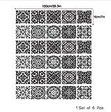 PANDABOOM 18X100 cm Schwarz Weiß Treppenaufkleber 3D Wasserdicht Abnehmbare Selbstklebende Wandbodenaufkleber Tapete Decor 6 stücke Set