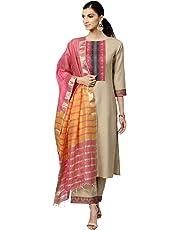 INDO ERA Women's Pure Cotton Straight Palazzo Kurta Set With Dupatta (Beige)
