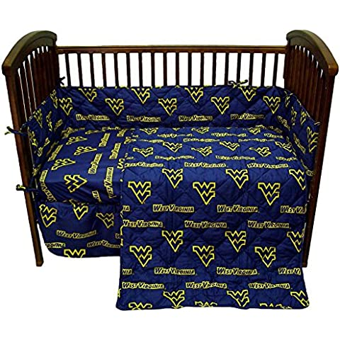 College West Virginia Mountaineers Navy Blue Crib Set by College Covers
