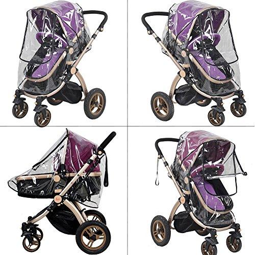 Imagen para Tomkity Burbuja de Lluvia Protector Cubierta contra Lluvia y Viento Impermeable para Silla de Paseo de Bebé y Carrito con una Bolsa Organizadora de Malla para Guardar Cosas