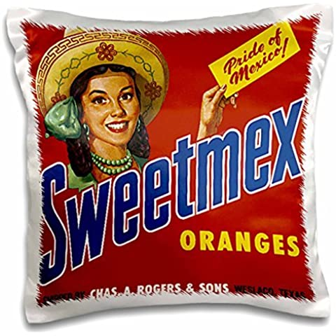 BLN Vintage Fruit and Vegetable Crate Labels - Vintage sweetmex Oranges Weslaco, Texas Crate Label - 16x16 inch Pillow Case