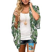 YULOONG Womens Cover Up Chiffon Stampa Floreale Kimono Cardigan con Scialle Allentato Boho Camicetta Casual Estiva Top…