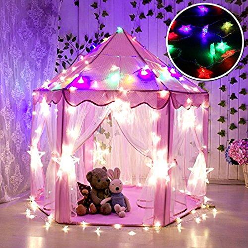 WER Pink Princess Castle Kinder Spielzelt mit 3m bunte Stern Leuchten Kinder Playhouse Innen- und Outdoor-Nutzung (Pink Castle + bunte Sterne)