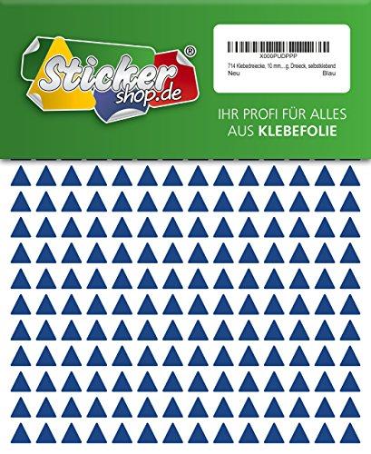 714 Aufkleber, Dreieck, Sticker, 10 mm, blau, PVC, Folie, Vinyl, glänzend, Klebemarkierung, selbstklebend