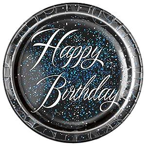 Unique Party Paquete de 8 platos de papel de cumpleaños Color azul metálico brillante 23 cm 57465