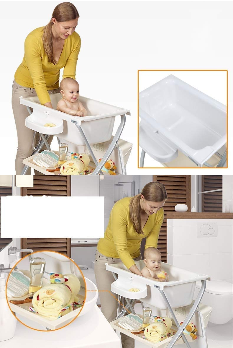Changing Table Baby Changing Table Portable Folding Diaper Station Nursery Organizer for Infant Save Space Cross Leg Style (Color : White) Changing Table ●Size and Safe and Stable- L74 x W48 x H100cm,Suitable for babies weighing less than 25kg,With seat belt,Changing pad has a restraining strap for added safety and is made of easy to clean, soft ●2-in-1 design- Baby changing table can be used as baby massaging table as well. It is designed at the proper height of parent to prevent mom's back aches and pains from kneeling or bending when changing diapers to babies. ●Premium materials - Using high-quality materials for our 2 in 1 infant changing table,Reinforced metal,it is durable and stable for long time daily use,And easy to clean and maintain. 7