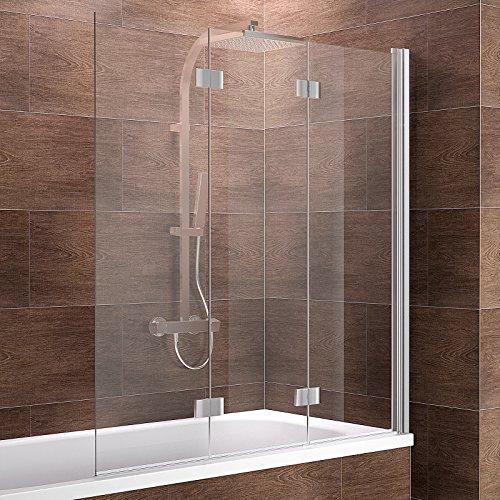 faltbare duschwand fuer badewanne Schulte Duschwand Valet, 130x140 cm, 3-teilig faltbar, Sicherheitsglas klar 6 mm, Profilfarbe chrom-optik, Duschabtrennung für Badewanne