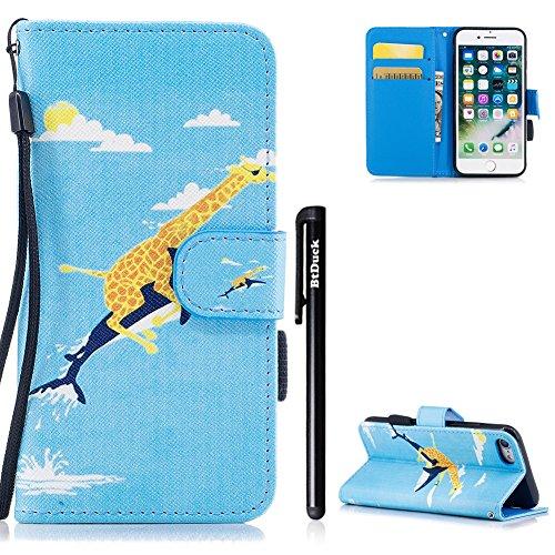BtDuck Schutzhülle Compatible with iPhone 7 Hülle PU Leder Tasche Muster Bunt iPhone 8 Handyhülle Flip Lederhülle Case Wallet Cover Brieftasche mit Kartenfächer -Giraffe