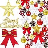 Tatuo 91 Piezas de Adornos de Árbol de Navidad Ornamentos de Navidad Surtido para Decoración de Árbol de Navidad Corona
