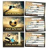 12 Einladungskarten zum Kindergeburtstag Fußball Fussball Jungen Jungs Geburtstagseinladungen Einladungen Geburtstag Kinder Kartenset