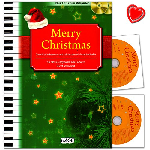 Merry Christmas! - 45 beliebtesten und schönsten Weihnachtslieder - leicht arrangiert für Klavier, Keyboard oder Gitarre - Songbook mit 2 CDs und bunter herzförmiger Notenklammer