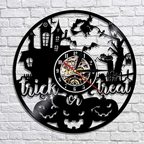 Menddy Europäische Und Amerikanische Halloween Dekoration Geschenke Vintage Schallplatte Wanduhr Personalisierte Hohl Dekoration Mit Led-Licht 12 Zoll