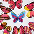 20 Pieces 3D Butterfly Stickers 6 Inches double wings Fashion DIY Wall Decoration House Decoration Babyroom Decoration (Red) Y058