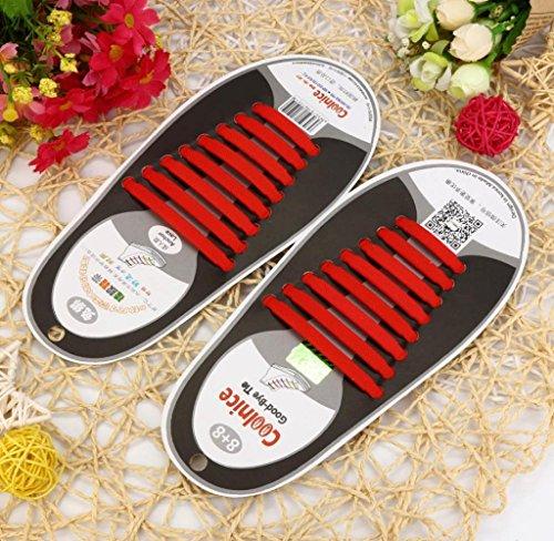 Amcool 16 Stk / Set Unisex Keine Krawatte Schnürsenkel Elastisches Silikon Schuh Schnürsenkel passen alle Sneakers Rot