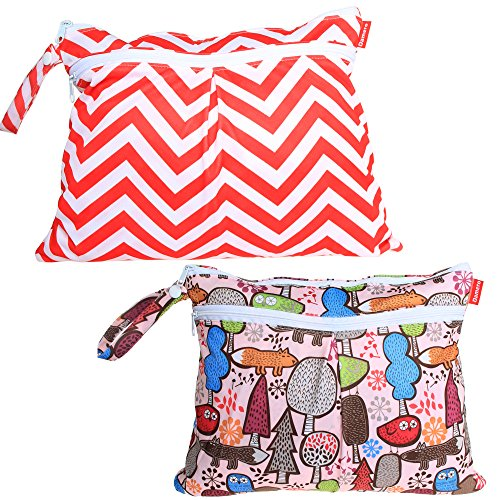 damero-2pcs-pack-cute-travel-baby-wet-and-dry-cloth-diaper-organiser-bag-tree-red-chevron