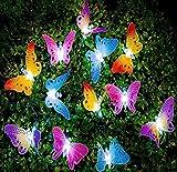 Hpybest 12pcs LED Butterfly Fiber Optic Fairy LED Outdoor Garden Lights Patio Fence Ornament Light Garden Decoration