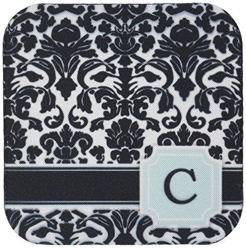 Schwarz Tischsets Und Weiß Damast (CST _ 154352inspirationzstore Monogramme–Buchstabe C Persönlichen Monogramm mint blau schwarz und weiß Damast Muster–Classy Personalisierte Initiale–Untersetzer, Gummi, grün, set-of-4-Soft)