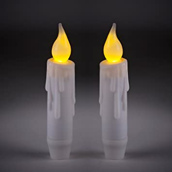 set of 2 battery operated led taper candles with timer by lights4fun