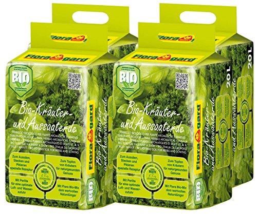 Floragard Bio Kräuter- und Aussaaterde 4x20 L • torfreduzierte Bio-Spezialerde • mit Bio-Naturdünger und Perlite • für Aussaaten, Jungpflanzen und Kräuter wie Basilikum