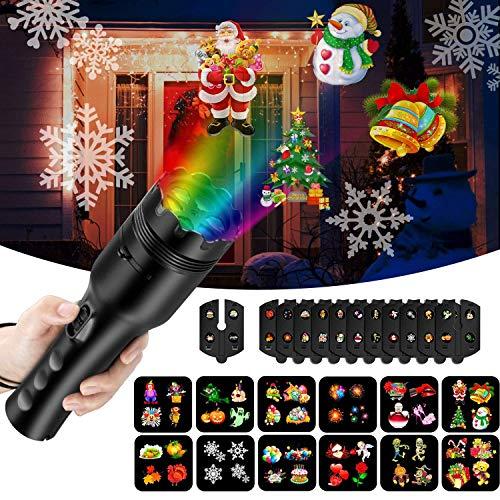 NEXGADGET LED Taschenlampe Projektor Batterie betrieben tragbar 2 in 1 Deko Licht & Handprojektor mit 12 Dias, Kinder Frühen Pädagogischen Spielzeug für Haus Party, Geburtstag, Weihnachten, Halloween