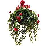 gardenersdream® Künstliche Geranien Hängekörbe in verschiedenen Farben & Größen (Medium, Rot)