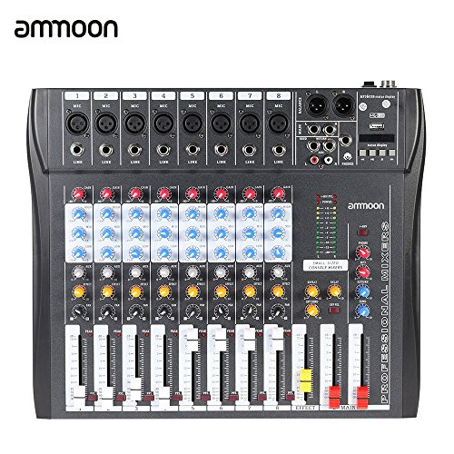 ammoon ct80s-usb 8 Kanäle Mic Linie Digital Audio Mixer Konsole mit 48 V Phantom Leistung für die Registrierung DJ Bühne Karaoke Musik Appreciation (Mixer Musik)