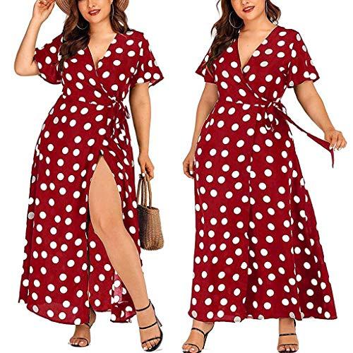 Wawer Women's Casual Plus Size V-Neck Short-Sleeved Polka Dot Printed Belt Dress Niedrige Brust Kleid Mode und Elegant Langer Rock - Slim Brust