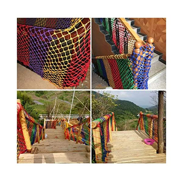 NIUFHW Child Safety Net, Protective Net Climbing Rope Cargo Trailer Decoration Net Children's Toys Pet Safety Stair Railing Net Playground Outdoor Terrace Balcony Can Be Cut 1x2m3m4m  ◆ Safety net wire diameter 6MM, mesh spacing 10CM. Color: color rope net. The protective mesh can be customized to the mesh spacing and color you want. ◆Nylon rope net, hand-made woven net, lightweight child safety fence net, high-grade sturdy woven fabric, professional knotting, multi-strand weaving, make the rope more durable, have strong impact resistance, and protect children's safety. ◆The rope net is suitable for various scenes, door and window corridors, stairs, balconies, railings, kindergartens, amusement parks, public facilities, landscape fences, exterior walls, plant protection nets, etc., which can be used to protect your baby's safety. 5