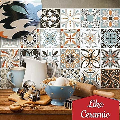 12 carrelage 20x20 cm - PUV0016 Décoration adhésive effet céramique pour salle de bains et cuisine Stickers design - Decori vintage