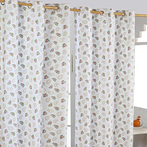 Homescapes dekorativer Vorhang Ösenvorhang Dekoschal Paisley & Dots im 2er Set, gelb weiß blau, 137 x 182 cm (Breite x Länge je Vorhang), 100% reine Baumwolle -