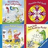 Ravensburger Mini-Bilderspaß 40 - Spiel & Spaß für überall 1 (4er-Set): Mandala-Mal-Spaß, Mini-Rätsel-Spaß, Super Spaß von Punkt zu Punkt, Schönsten Mini-Labyrinthe