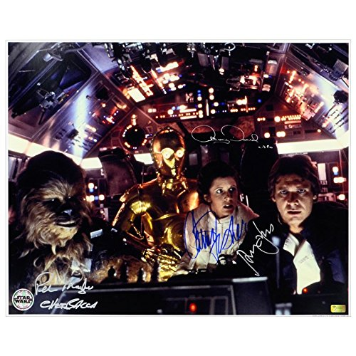 harrison-ford-carrie-fisher-peter-mayhew-e-anthony-daniels-autografata-star-wars-16-x-20-escape-from